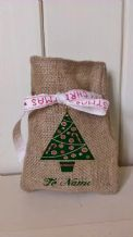 Personalized Tree Small Father Christmas Xmas Santa Sack / Stocking Bag Jute Hessian (1)